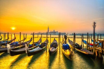 Plakat Gondole w Wenecji, Włochy