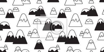 górski szwu wektor śnieg górski wzgórze drewna las szalik na białym tle tapety kreskówka doodle