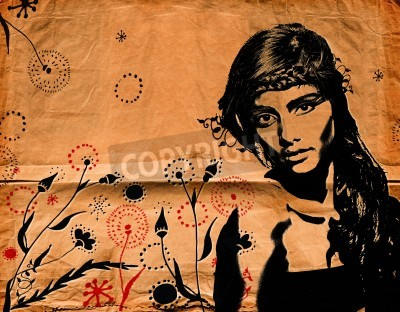 Plakat graffiti fashion illustration of a beautiful woman with long hair on paper texture with grunge effect