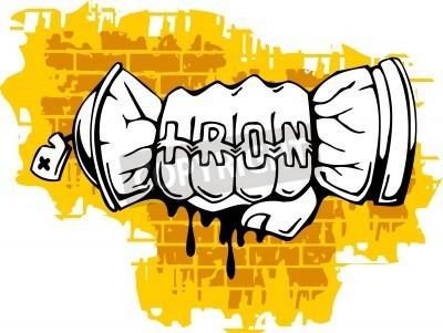 Plakat Graffiti - Fist koniec Spray ballon.Ilustracja wektora. Vinyl-Ready.