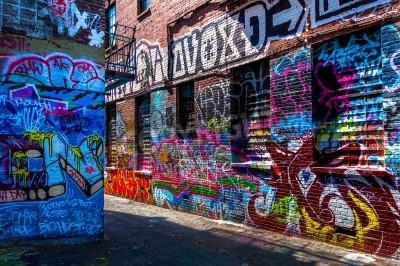Plakat Graffiti na murach graffiti Alley, Baltimore, w stanie Maryland.