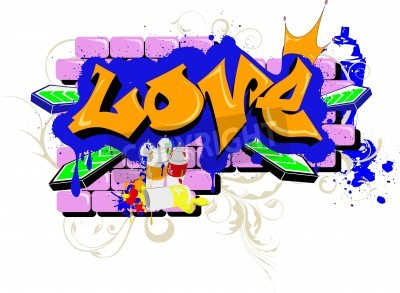 Plakat Graffiti ścienne kocham Sztuka miejska