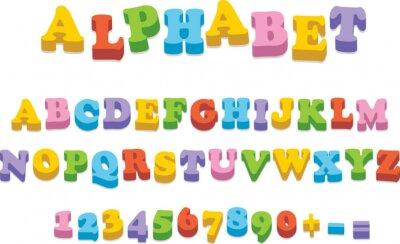 Plakat Grafika Litery Alfabetu Lodówka Magnes Pisowni