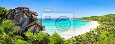 Plakat Grand Anse Panorama auf La Digue, Seychellen