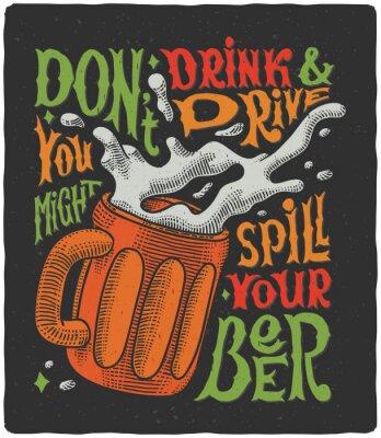 Plakat Graphic plakat z kubek grawerowania i zabawnym tekstem
