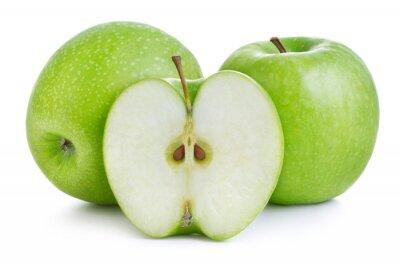 Plakat green apples isolatedon white background