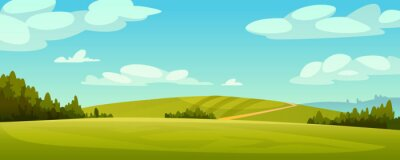 Plakat Green fields landscape, rural hills, pasture grass, meadows and trees, blue sky on background. Vector grassland, country agriculture, farmland. Ecology environment panorama, summer spring nature