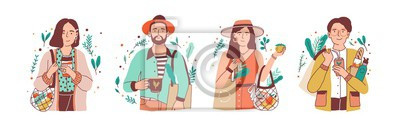 Plakat Green lifestyle flat vector illustrations set. Young men and women holding natural products cartoon characters pack. Zero waste, vegetarianism, environment preservation, ecology protection concept.