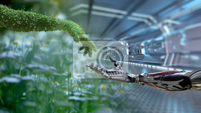 Plakat Green technology conceptual design, human arm covered with grass and lush and robotic hand, 3d render