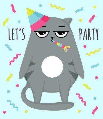 Plakat Grumpy cat invitation card. Let party. Cat in cap. Party atribution. congratulatory postcards