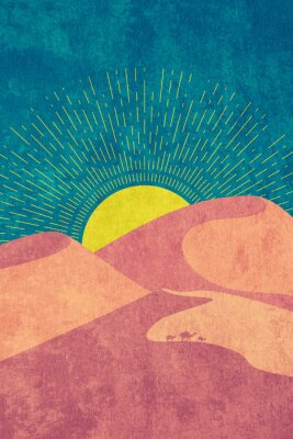 Plakat Grunge desert dunes