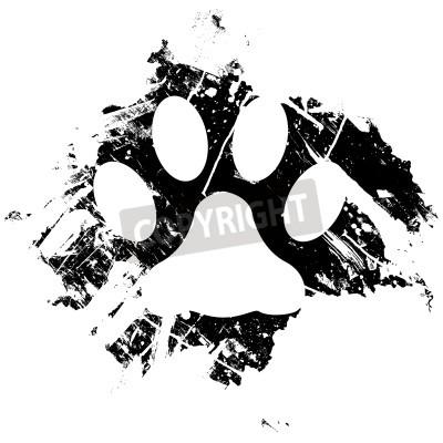 Plakat Grunge zwierzę łapa kota lub wydrukować. Może być używany jako tło lub jako element projektu małoletniego.