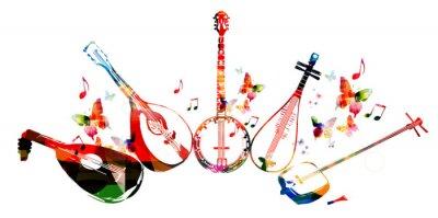 Plakat Grupa instrumentów muzycznych z motyli