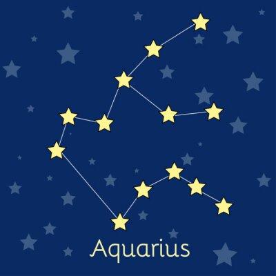 Plakat gwiazdozbiór zodiakalny Wodnik Woda z gwiazd w kosmosie. Vector obraz