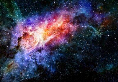 Plakat gwiaździste deep space i zewnętrzna galaktyka mgławica