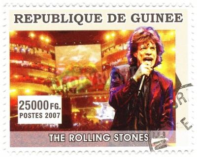 Plakat GWINEA - OKOŁO 2007 Słynny piosenkarz rockowy Mick Jagger z zespołu Rolling Stones muzyki