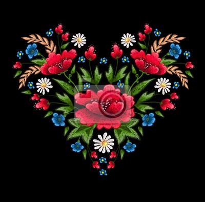 Haft haft artystyczny z kwiatami