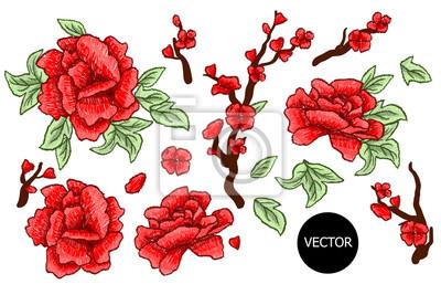 Haft. Haftowane elementy projektu z kwiatów sakura i liści izolowane. Czerwone Kwiaty.