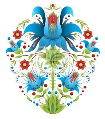 haft ludowy z kwiatami - tradycyjny etniczny wzór