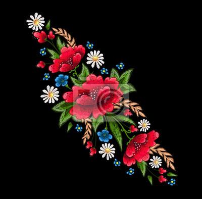 Haftowane szwy z kwiatami. Vector moda haftowana ozdoba do tkanin, dekoracja tkanin.