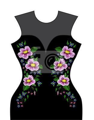 Haftowane szwy z różowymi kwiatami. Vector moda haftowana ozdoba do tkanin, dekoracja tkanin.