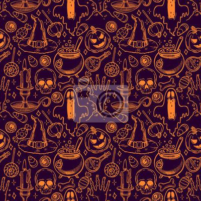 Plakat Halloween bez szwu szkic wzór - 2