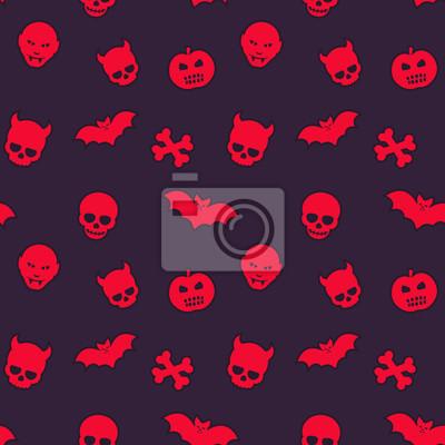 halloween deseń, bez szwu tła z czaszki, nietoperze, dynie i wampiry