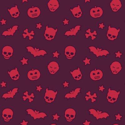halloween seamless pattern with skulls, bats, pumpkins, vampires and stars, vector background