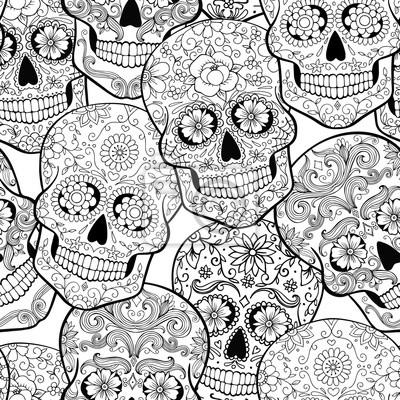 Plakat halloween szwu z czaszki cukru, kolorowanki