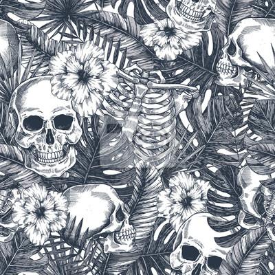 Plakat Halloween tropical vintage seamless pattern. Creppy jungle skull background. Floral anatomy