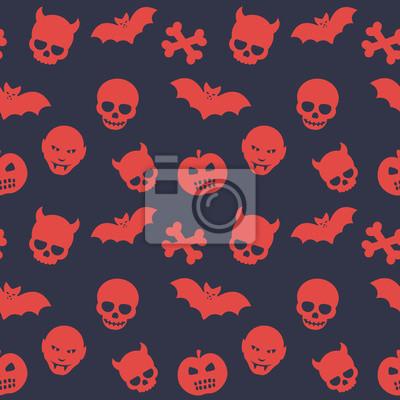 Halloween wzór, bezszwowe tło z czaszki, kości, nietoperzy, dynie i wampirach