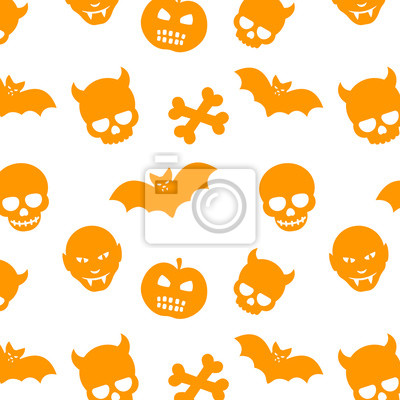 Halloween wzór, bezszwowe tło z czaszki, kości, nietoperzy wampirów i dynie, pomarańczowy na białym