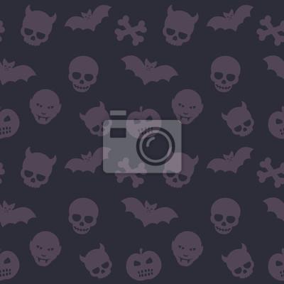 Halloween wzór, ciemne tło bezszwowych z czaszki, kości, nietoperzy i wampirach