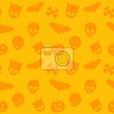 Halloween wzór, pomarańcza bezszwowe tło z czaszki, kości, nietoperzy i wampirów, ilustracji wektorowych
