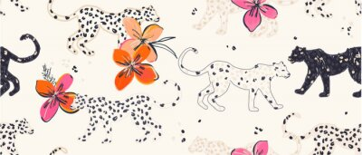 Plakat Hand drawn abstract jungle pattern with leopards and exotic flowers. Collage contemporary seamless pattern. Fashionable template for design.