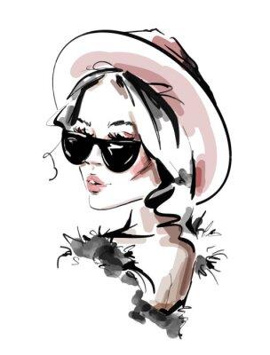 Plakat Hand drawn beautiful young woman in sunglasses. Stylish elegant girl. Fashion woman look. Sketch. Vector illustration.