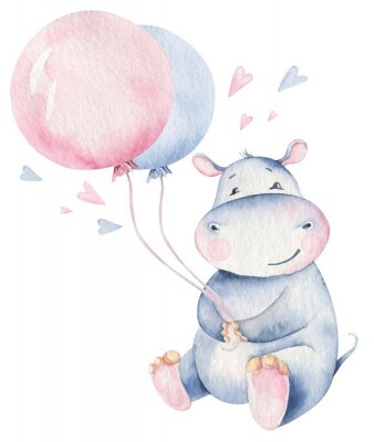 Plakat Hand drawn cute isolated tropical summer watercolor hippo animals. hippopotamus baby and mother cartoon animal illustrations, jungle tree, brazil trendy design. Aloha collection.