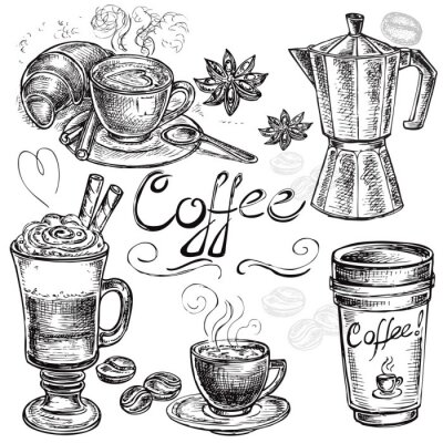 Plakat hand drawn set coffee collection