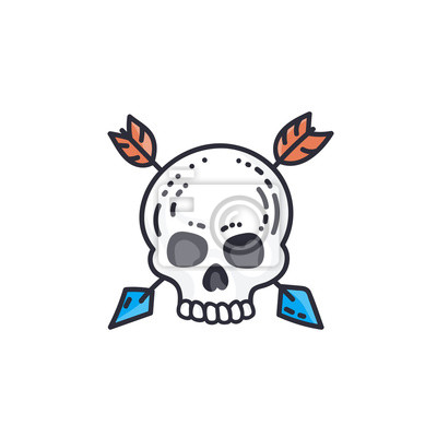 Hand drawn skull with arrows