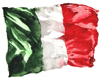Plakat hand-drawn watercolor flag of Italy - a realistic , fluttering i