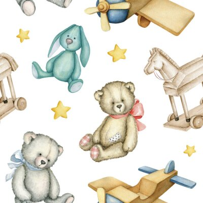 Plakat Hand drawn watercolor seamless pattern with old-fashioned toys. Teddy Bears. Bunny toy. Airplane. Rocking horse. Watercolor Illustration on white background.