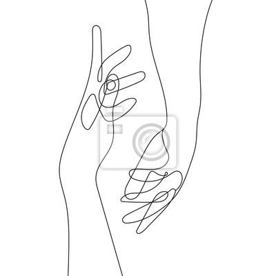 Plakat Hand Gesture Continuous Line Drawing. Couple Minimalist Contour Illustration. One Line Hands Concept. Vector EPS 10.