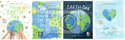 Plakat Happy Earth Day! Vector eco illustration for social poster, banner or card on the theme of saving the planet. Make everyday earth day