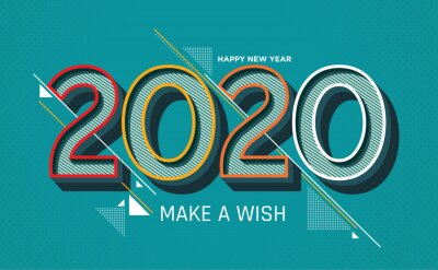 Happy New Year 2020 colorful banner style for the seasonal holidays flyers, greetings and invitations, christmas themed congratulations and cards. Vector illustration.