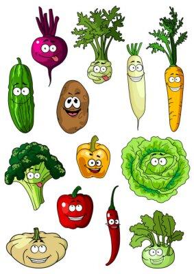 Plakat Happy uśmiechnięta świeżych warzyw w ogrodzie