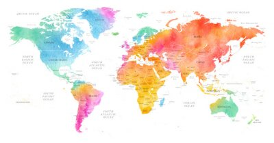 Plakat High detailed Multicolor Watercolor World Map Illustration with borders, oceans and countries on white Background, Side View.