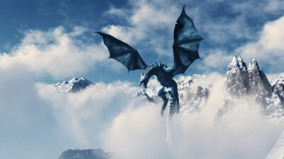 Plakat High resolution Ice dragon 3D rendered. Write your text and use it as poster, header, banner or etc.