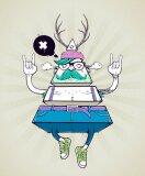 Plakat Hipster dziwaczne postaci trójkąta