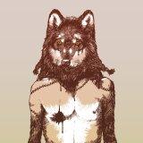 Plakat hipsterski wilkołak do minimalistycznego pubu