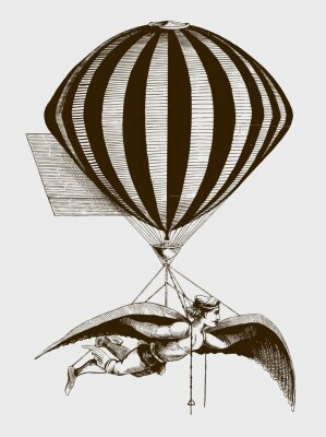 Plakat Historic aerialist wearing wings while suspended from a balloon. Illustration after a woodcut from the 19th century. Editable in layers
